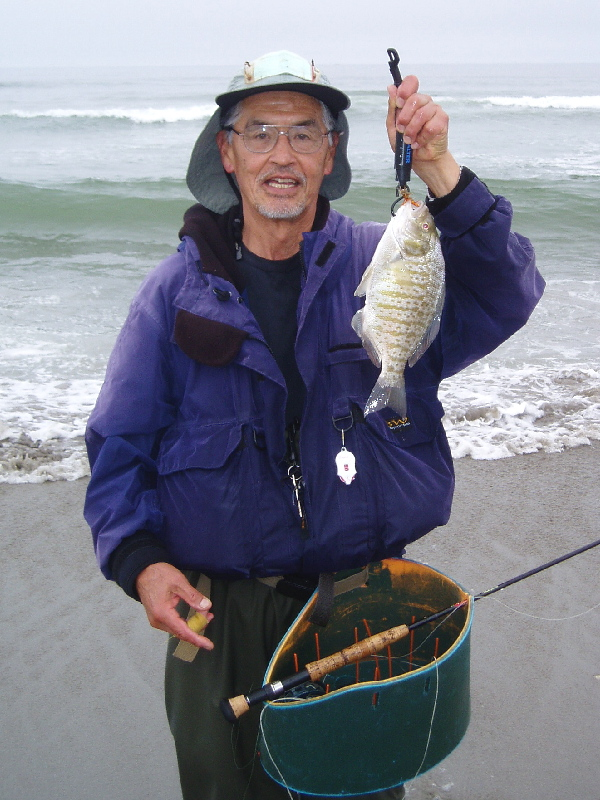 Glenn in gear with nice Barred Surfperch